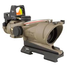 trijicon acog 4x32 red bdc reticle with 3 25 moa rmr sight fde