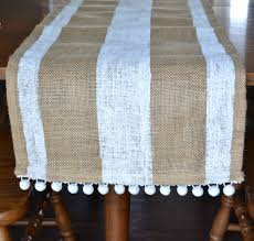 striped burlap table runner with pom poms u2013 mary martha mama