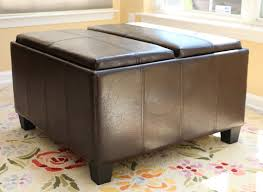Leather Top Ottoman Home Leather Espresso Tray Top Storage Ottoman