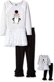 Dolly And Me Clothing Amazon Com Dollie U0026 Me Girls U0027 Stripe Knit Penguin Tutu Dress With