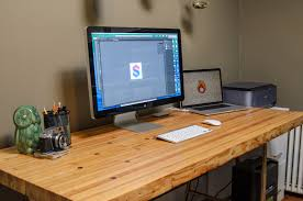 Building A Wooden Desktop by Side Project Reclaimed Bowling Lane Desk Solve Design