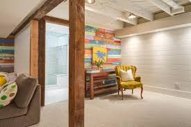 accent wall in basement basement eclectic with clamshell armchair
