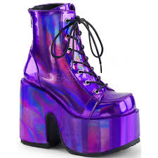 purple hologram chunky platform boots gothic boots for women purple hologram chunky platform boots at gothic plus gothic clothing jewelry goth shoes