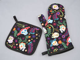 day of the dead sugar skulls oven mitt and pot holder sets