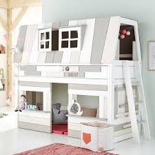 chambre cabane enfant lit évolutif cabane basse 90x200cm hangout lifetime blanc