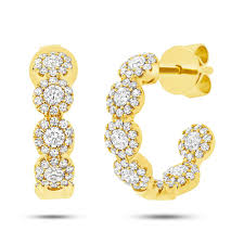 icing earrings 0 90ct 14k yellow gold diamond hoop earrings allurez ear