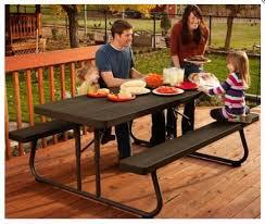 lifetime 6 folding outdoor picnic table brown 60110 lifetime 60112 commercial grade 6 picnic table faux wood color
