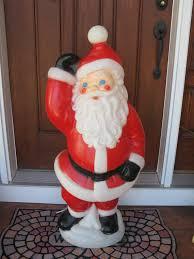 outdoor plastic lighted santa claus large 40 blow mold waving santa christmas by oakiesclaptrap