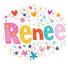 renee girls name decorative lettering type design stock vector