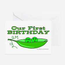 twins first birthday greeting cards cafepress