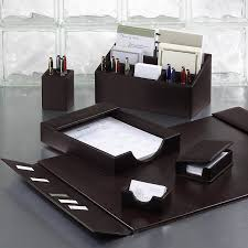 Leather Desk Organizers Bomber Jacket Desk Set Six Pieces Leather Desk Accessories