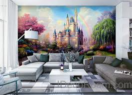 D Tinkerbell Fairy Castle Wall Paper Rainbow Disney Princess - Disney wall decals for kids rooms