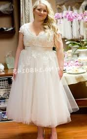 popular plus size tea length wedding dress buy cheap plus size tea