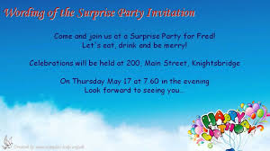 Wording For Invitation Card Surprise Party Invitation Wording Youtube