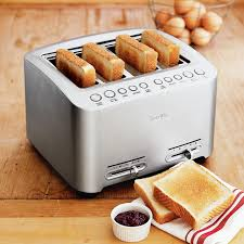 Calphalon 4 Slot Stainless Steel Toaster Breville Die Cast 4 Slice Smart Toaster Williams Sonoma