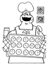 monster cookie baking cookies coloring pages place color