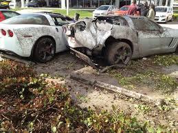 corvette car crash chevrolet corvette crash dealership miami 2 images photo