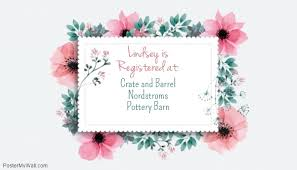 wedding shower registry bridal shower registry card template postermywall