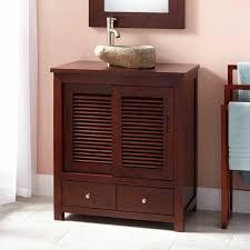 furniture dark brown wooden narrow depth vanity with sliding door