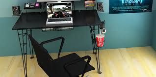 imposing sample of one piece glass desk in black home office desk