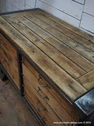 Table Acier Bois Industriel by Grand Etabli Industriel Bureau Metal Et Bois Steel Furniture