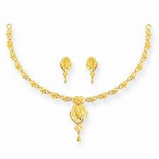 gold set gold flower single row necklace set