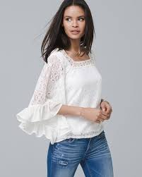 sleeve lace blouse tops all whbm