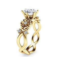 unique engagement ring twist yellow gold flower unique engagement ring evermarker