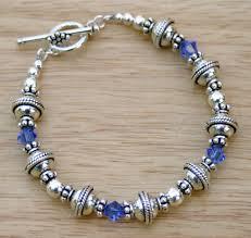 silver bead bracelet diy images Royal blue swarovski crystal bracelet bali beaded bracelet jpg