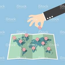 Pin World Map by Businessman Hand Pin Target To World Map Stock Vector Art