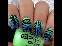 tribal inspired nail art designs aztec nails youtube