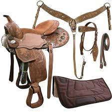 Horse Saddle by Tahoe Sparkle Conchos Floral Tooled Western Saddle 5 Item Set