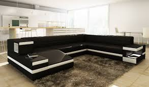 Modern Leather Sofa With Chaise by Modern Black Leather Sectional Sofa