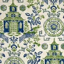 Navy And Green Curtains Blue Green Asian Toile Linen Upholstery Fabric Modern Asian