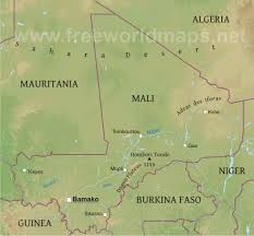 Africa Physical Map Mali Physical Map