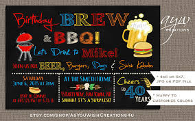 50th birthday invitation brew and bbq invitation printable