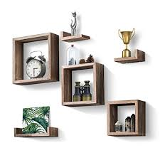kankei floating shelves set of 7 rustic wood