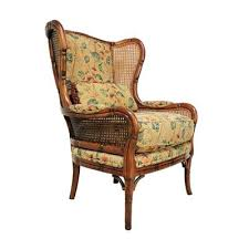 Wingback Wicker Chair Vtg Ethan Allen Faux Bamboo Rattan Cane Wing Back Arm Chair