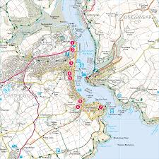 Canterbury England Map by Dartmouth Castle Print Walk South West Coast Path