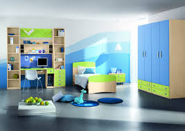 cute teenager room with blue walls and oaks single bed beside high