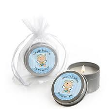 personalized baptism favors angel baby boy personalized baptism candle tin favors