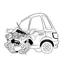wrecked car clipart royalty free cartoon car sick from accident black and white 394293