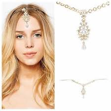 chain headband women fashion jewelry pearl chain headband