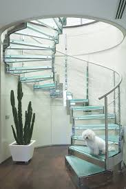 Glass Staircase Design Modern Hanging Glass Staircase Designs With Nice Led Lighting