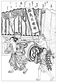 free coloring page created from an ancient japanese drawing to