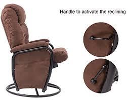 amazon com merax brown luxury suede fabric nursery glider