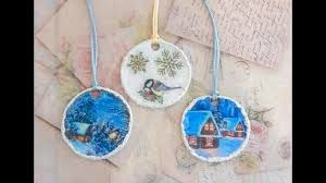 diy ornaments with modelling material and decoupage