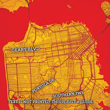 San Francisco City Map by San Francisco California Map Art City Prints