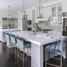 gray kitchen island blue stools design ideas