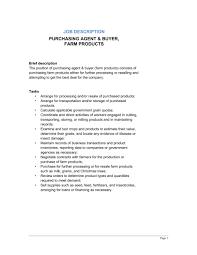 purchasing agent u0026 buyer farm products job description template